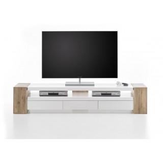 TV-Benk Jule 200 cm - Eik - Hvit Matt - 3 skuffer