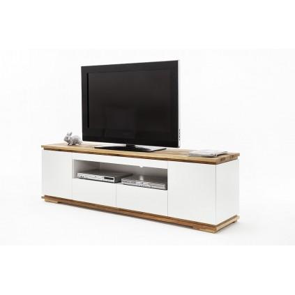 TV-benk Chiaro 202 cm - Hvit matt - Eik heltre