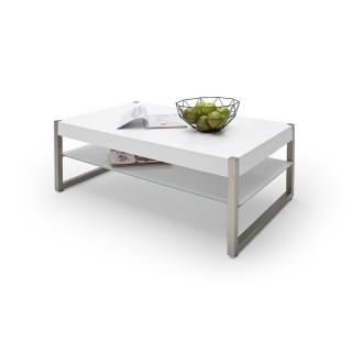 Stuebord Migel 105 cm - Hvit Matt - Børstet Stål