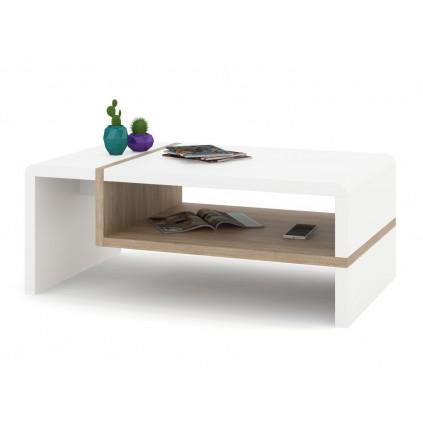 Sofabord Abelia 100 cm - Hvit Matt - Eikelook