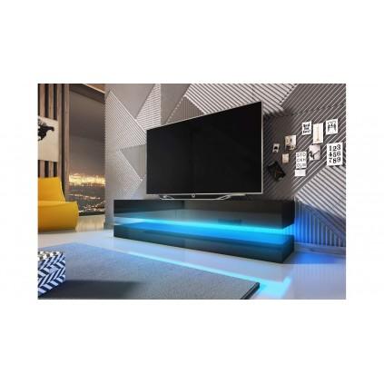 Tv-benk Double Svart 140 cm LED belysning