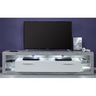 Benix TV-benk 200 cm - Betonggrå - Hvit Høyglans
