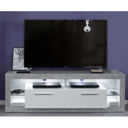 Benix TV-benk150 cm - Betonggrå - Hvit - LED lys