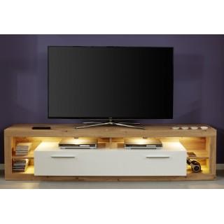 Phenix TV-benk 200 cm - Eik - Hvit Høyglans - LED