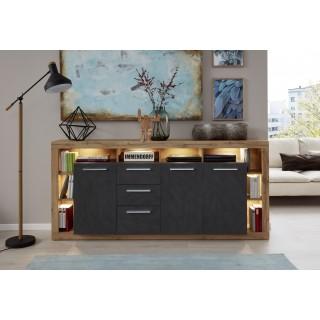 Alexa Sideboard 200 cm - Svart Eik - Trelook