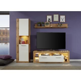 Phenix TV-benk 150 cm - Eik - Hvit Høyglans - LED