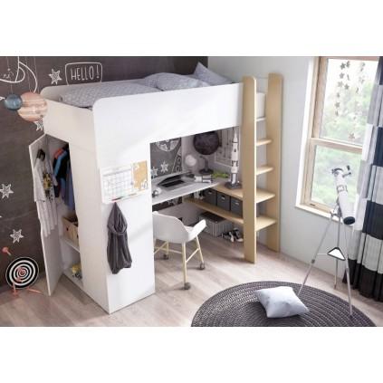 Køyeseng Tommy med skrivebord og garderobe