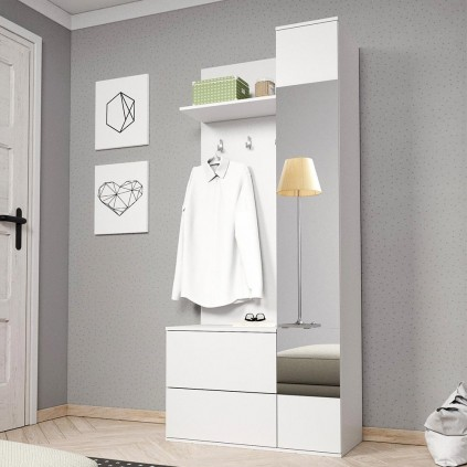 Garderobe - Skoskap Benny - Hvit Matt - Speil