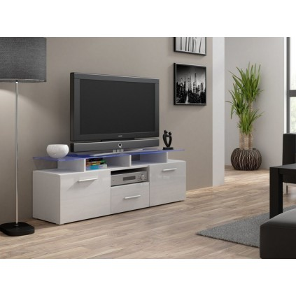 Hvit Høyglans TV-benk Evoa 147 cm - Glassplate - Smal