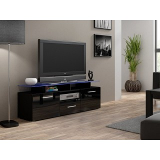 Svart Høyglans TV-benk Evoa 147 cm - Glassplate - Smal