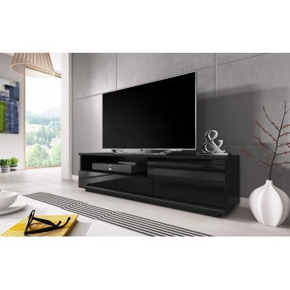 Svart Høyglans TV-benk Mexo 138 cm - med luke