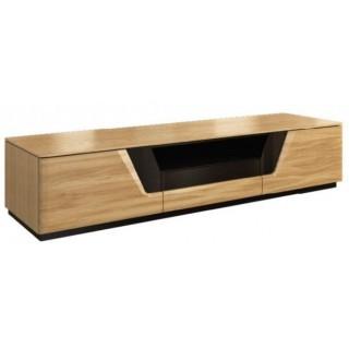 TV-benk Areno 182 cm - Lys eik - Svart Glass - Montert