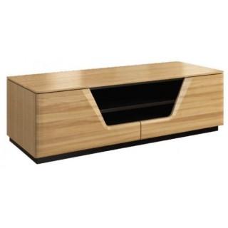 TV-benk Areno 122 cm - Lys eik - Svart Glass - Montert