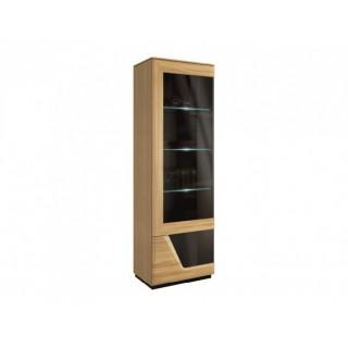 Vitrine Areno 102x131 cm - Lys eik - Svart Glass - Montert