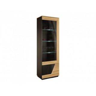 Vitrine Areno 61 cm - Lys eik - Svart Glass - Montert