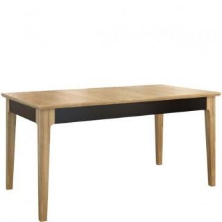 Spisebord Magento 160 - 250 cm - Lys Lakkert Eik - Svart