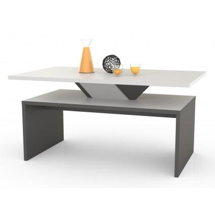 Sofabord Silco 100x50 cm - Hvit Matt - Grå - Oppbevaringshylle