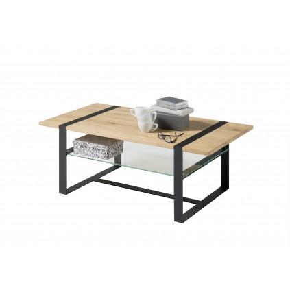 Stuebord Tiza 110 cm - Wild oak - Svart - Glasshylle