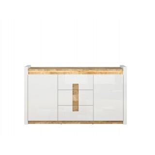 Skjenk Modea 172 cm - Hvit Høyglans - Trelook - Led lys