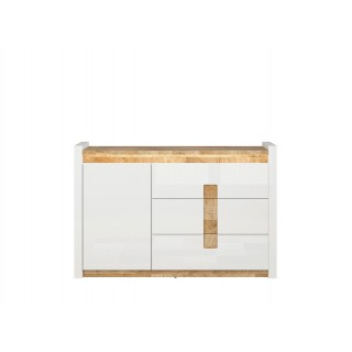 Skjenk Modea 147 cm - Hvit Høyglans - Trelook - Led lys