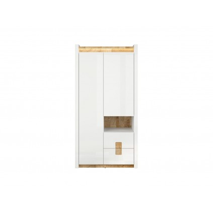 Garderobe Modea 102 cm - Hvit Høyglans - Trelook - Led lys
