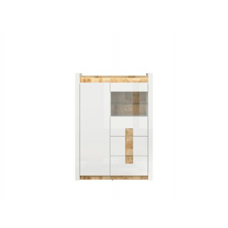 Vitrine Modea 102 cm - Hvit Høyglans - Trelook - Led lys