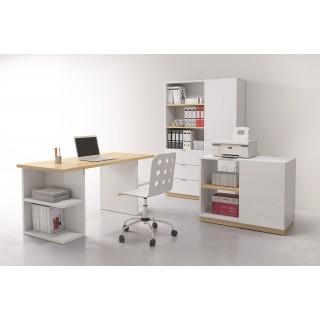 Skrivebord Dentan 160 cm - Hvit Høyglans - Trelook