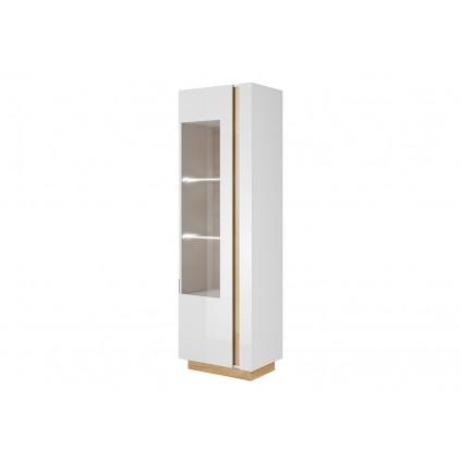 Vitrineskap Acron 60x194 cm - Hvit Høyglans - Trelook - Glassdører
