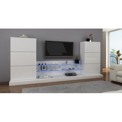 TV-seksjon Ulm - Hvit høyglans - Glasshyller