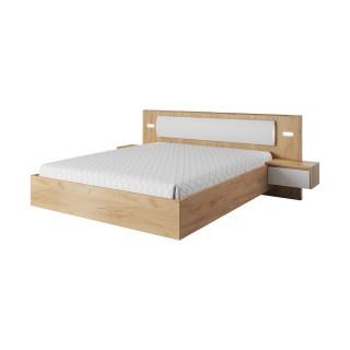 Seng Trello 160 cm - Eikelook - Hvit Matt - med nattbord