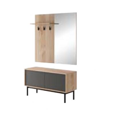 Garderobe Basico 104 cm - Trelook - Grafitt - med ben