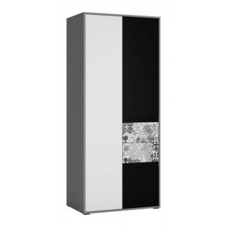 Garderobe Laser 84 cm - Grå - Svart - Hvit