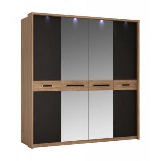 Garderobe Monaco 205 cm - 4 dører - med speil