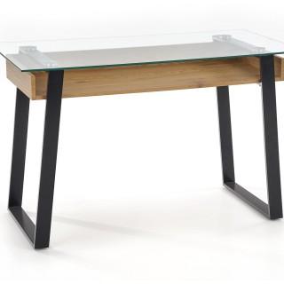 Konsollbord Balley 120 cm - Eikelook - Svart - Glass