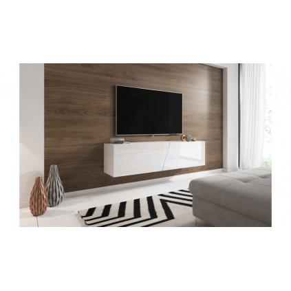 TV-benk Solix 160 cm - Hvit Høyglans -  Vegghengt - LED lys