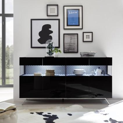 Skjenk Glamos 184 cm - Svart Høyglans - med innvendig stoff