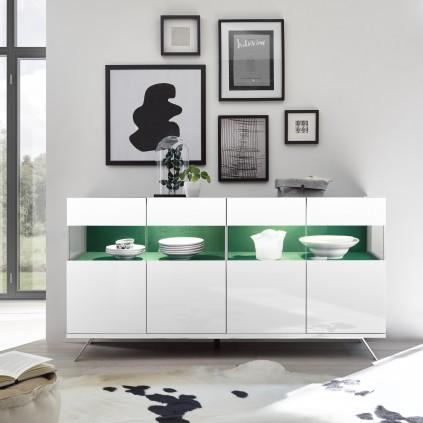 Skjenk Glamos 184 cm - Hvit Høyglans - med innvendig stoff