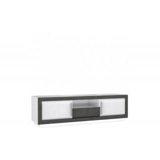TV-benk Connie 193 cm - Hvit høyglans - Mørk betong