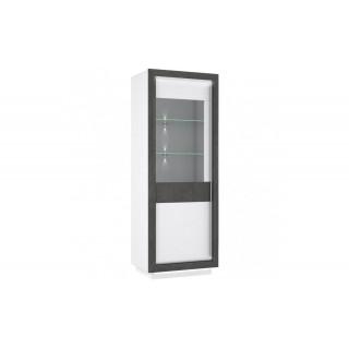 Vitrine Connie 73 x 197 cm - Hvit høyglans - Mørk betong