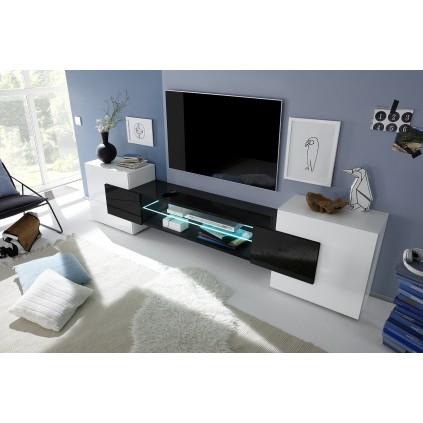 Incastro tv-benk 258 cm - Hvit - Svart
