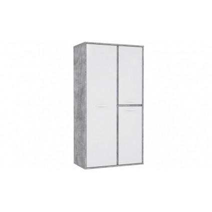 Garderobe Orion 100 cm - Hvit høyglans - Grå Betong