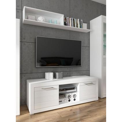 TV-benk Hoyer 151 cm - Hvit høyglans