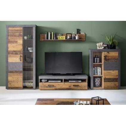 Tv-seksjon Indigo 343 cm - Gammel look - Grafitt