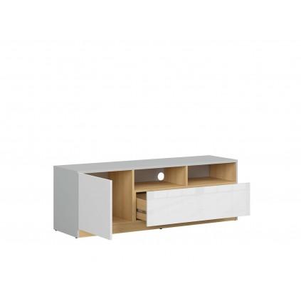TV-benk Nano 135 cm - Grå - Hvit høyglans
