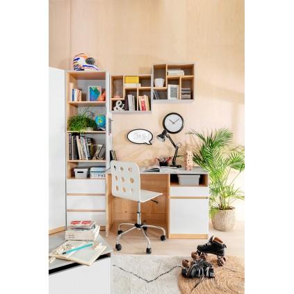 Skrivebord Nano 120 cm - Grå - Hvit høyglans