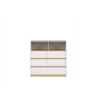 Kommode Nano 90 x 91 cm - Grå - Hvit høyglans