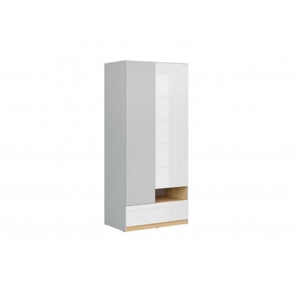 Garderobe Nano 90 cm - Grå - Hvit høyglans