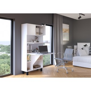 Skap med skrivebord Homla 80 cm - Hvit - Sammenleggbart