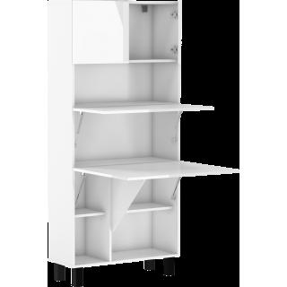 Skap med skrivebord Homla 80 cm - Hvit høyglans - Sammenleggbart