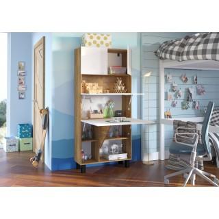 Skap med skrivebord Homla 80 cm - Eik - Hvit høyglans - Sammenleggbart